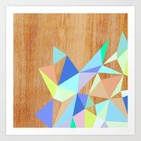 wooden Art Prints featuring Wooden Geo Aqua by Jenna Mhairi