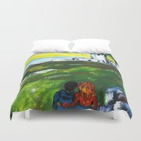 lighthouse Duvet Covers featuring lighthouse by Nastya Bo