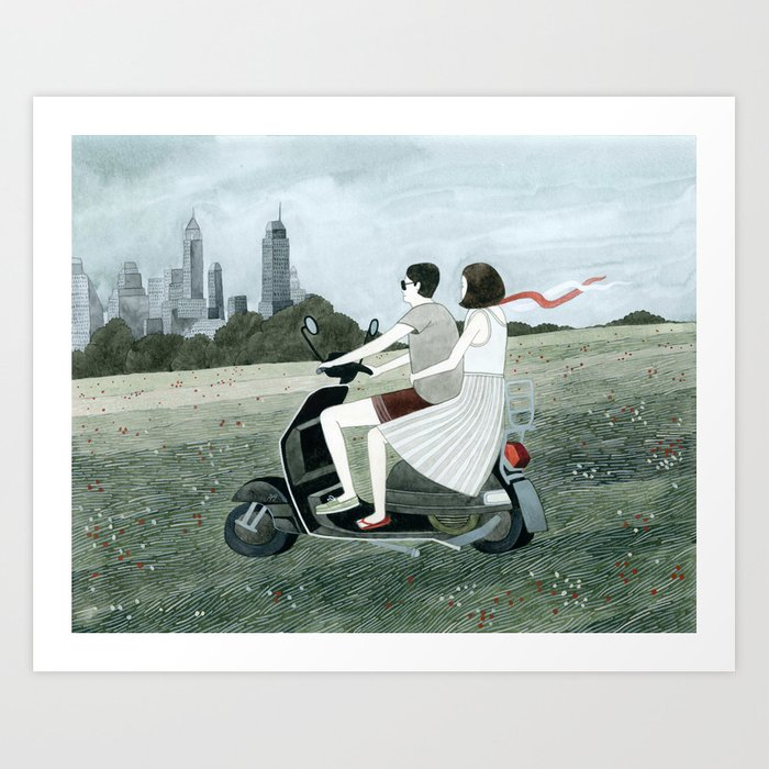 Couple On Scooter Art Print