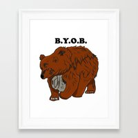 outkast Framed Art Prints featuring BYOB by TheDangerBone