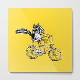 Ride On Chipmunk_yellow Metal Print