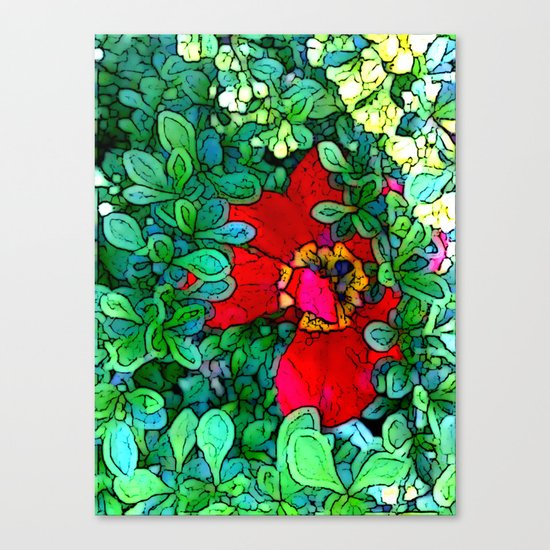 Shy Tulip Hiding Canvas Print