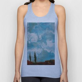 Cypress Trees encaustic wax painting by Seasons Kaz Sparks Unisex Tank Top