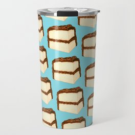 Chocolate Cake Slice Pattern - Blue Travel Mug