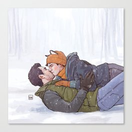 Winter Smooches Canvas Print