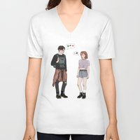 college V-neck T-shirts featuring X-Files College AU by vulcains