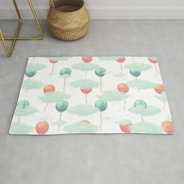 Modern coral teal watercolor clouds balloons pattern Rug