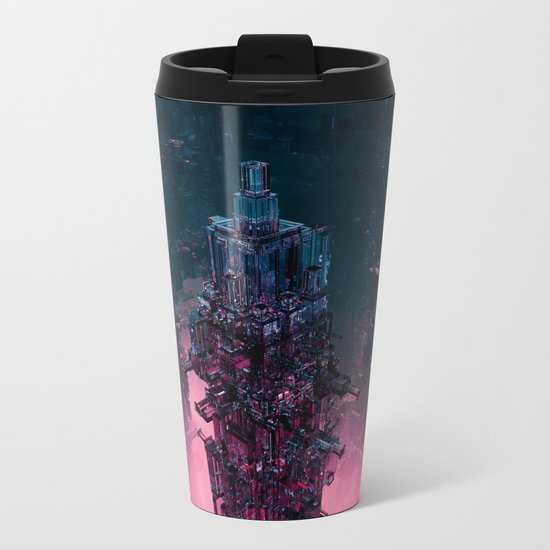 The Technocore / 3D render of futuristic structure Metal Travel Mug