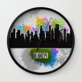 Watercolor art of the Chicago skyline silhouette Wall Clock