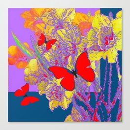 ABSTRACT RED BUTTERFLY TEAL  LILAC YELLOW FLORALS Canvas Print