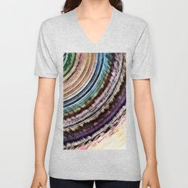 Abstract Textural Rings Unisex V-Neck