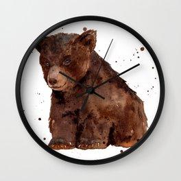Cute Baby Bear, teddy bear, teddy, bear cub, brown bear, nursery art, woodland, bear painting Wall Clock