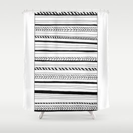 Abstract Black Lines Pattern Shower Curtain