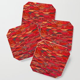 V35 Red Traditional Moroccan Artwork Pattern Coaster
