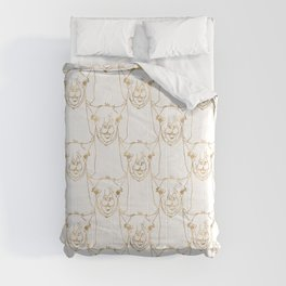 Cute Gold Strokes Llama Animal White Pattern Comforters