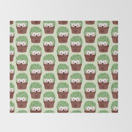 Hedgehogs disguised as cactuses Throw Blanket
