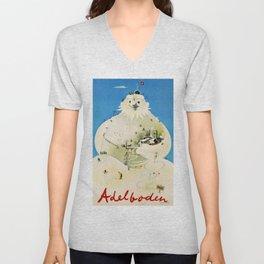 Vintage Adelboden Switzerland Travel Poster - Snowman Unisex V-Neck