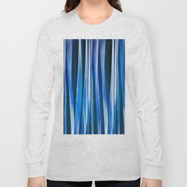 Harmony and Peace Blue Striped Abstract Pattern Long Sleeve T-shirt