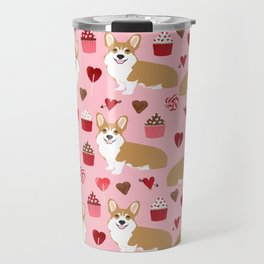 Corgi cupcakes valentines day cute love hearts dog breed corgi crew welsh corgis gifts Travel Mug