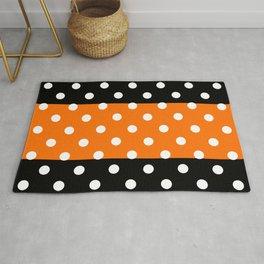 Extra Large White Polka Dots on Orange and Black Stripes Rug