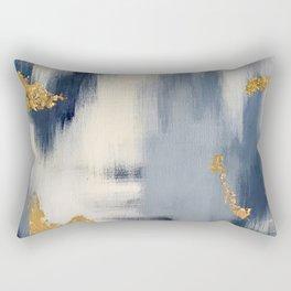 Blue and Gold Ikat Abstract Pattern #2 Rectangular Pillow