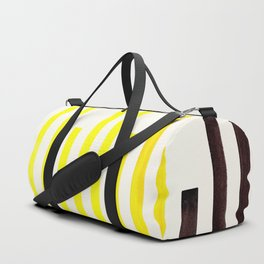 Yellow Minimalist Abstract Mid Century Modern Staggered Thin Stripes Watercolor Painting Duffle Bag