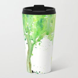 Watercolor Spring Tree Abstract Paint Splatter Travel Mug
