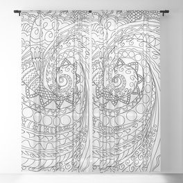 abstract zen tangled pattern swirl -2 Sheer Curtain