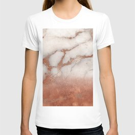 Shiny Copper Metal Foil Gold Ombre Bohemian Marble T-shirt