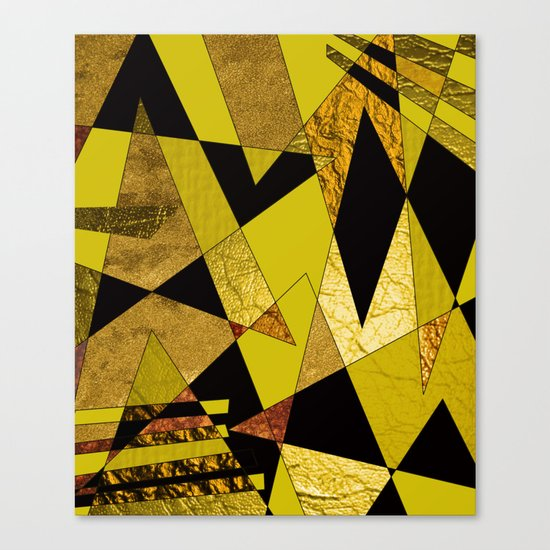 Abstract #508 Black, Gold & Copper Shards Canvas Print