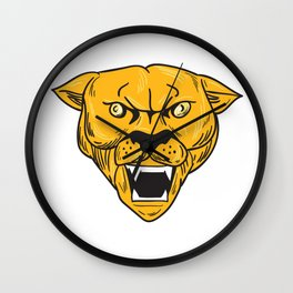 Angry Cougar Mountain Lion Head Drawing Wall Clock