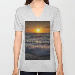 Lake Michigan Sunset with Crashing Shore Waves Unisex V-Neck