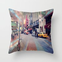 broadway Throw Pillows featuring On Broadway by Wired Circuit