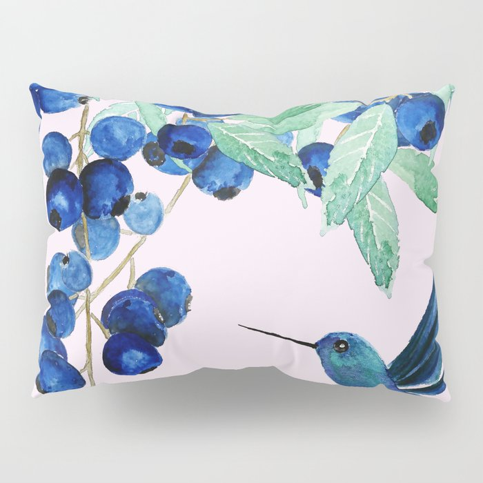 blueberry and humming bird Pillow Sham