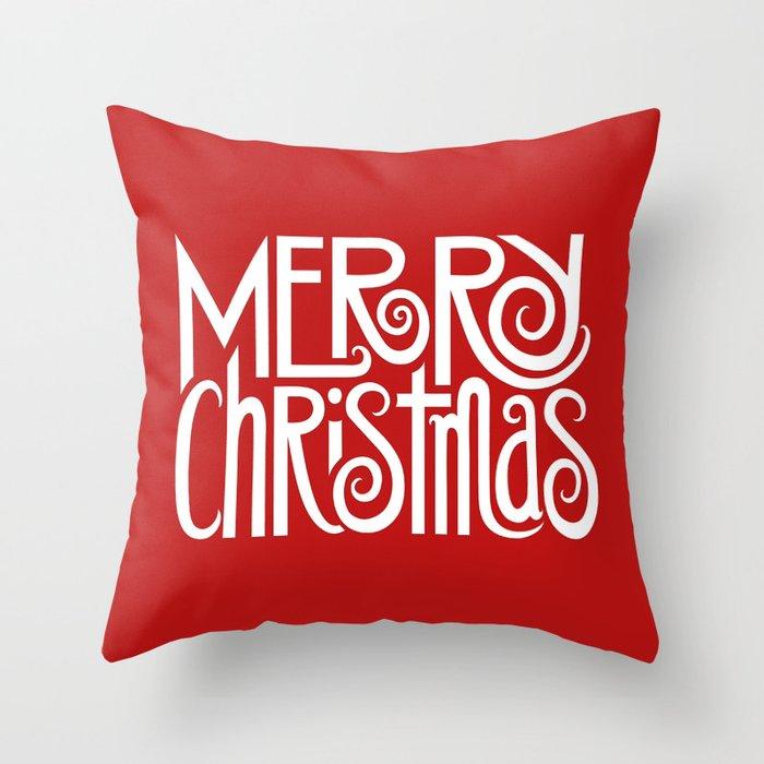 Merry Christmas Text White Throw Pillow