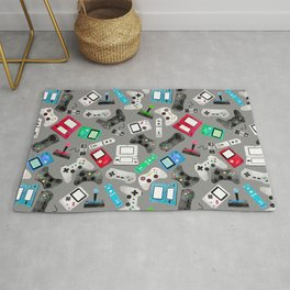 Watercolor Gaming Video Game Devices Pattern Gray Rug