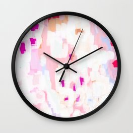 Netta - abstract painting pink pastel bright happy modern home office dorm college decor Wall Clock