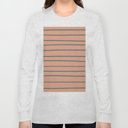 Thistle Green 22-18 Hand Drawn Horizontal Lines on Earthen Trail Pink 4-26 Long Sleeve T-shirt
