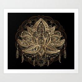 Lotus Black & Gold Kunstdrucke