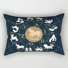 Taurus, Zodiac, Astrology, Horoscope, Stars, Sun-and-moon. Birthday, Valentines-day, Holidays, Rectangular Pillow