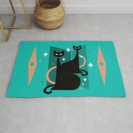 Fashionable Felines Atomic Age Black Kitschy Cats Rug