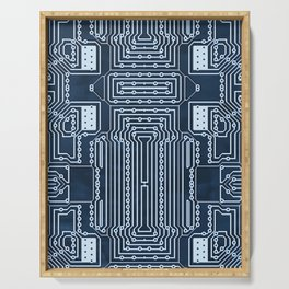 Blue Geek Motherboard Circuit Pattern Serving Tray