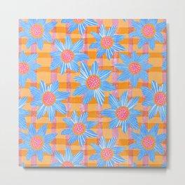 Blue Flowers on Gingham Metal Print
