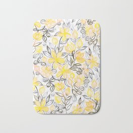Sunny Yellow Crayon Striped Summer Floral Bath Mat