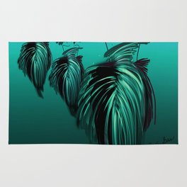 Fashion models in teal and turquoise evening dresses Rug