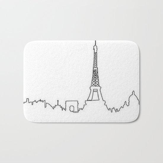 Paris, France Outline (Eiffel Tower, Notre Dame) Bath Mat