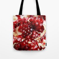 pomegranate Tote Bags featuring Pomegranate  by Libertad Leal Photography