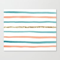 stripe Canvas Prints featuring Sparkle Stripe by Social Proper