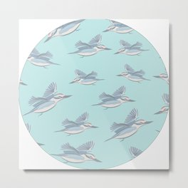 Flying Birds on Teal Background Metal Print