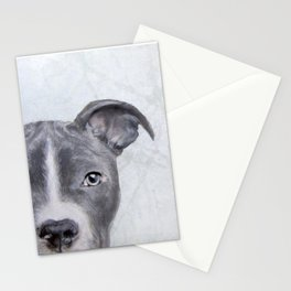 pit bull silver grey tone Stationery Cards